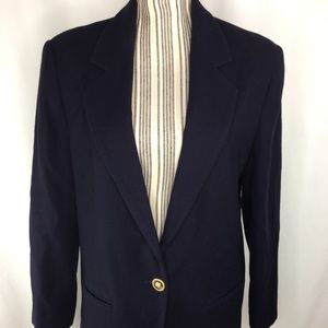 Navy blue boyfriend blazer 100% wool